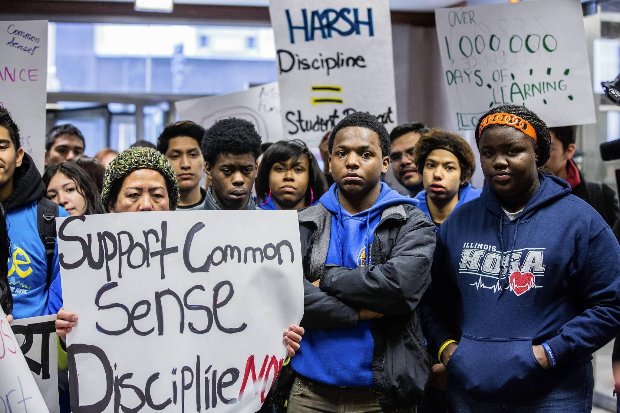 Students rally at Chicago Public Schools headquarters on Wednesday to support a state bill proposal that would limit suspensions for all but the most serious disciplinary infractions and would end student fines.