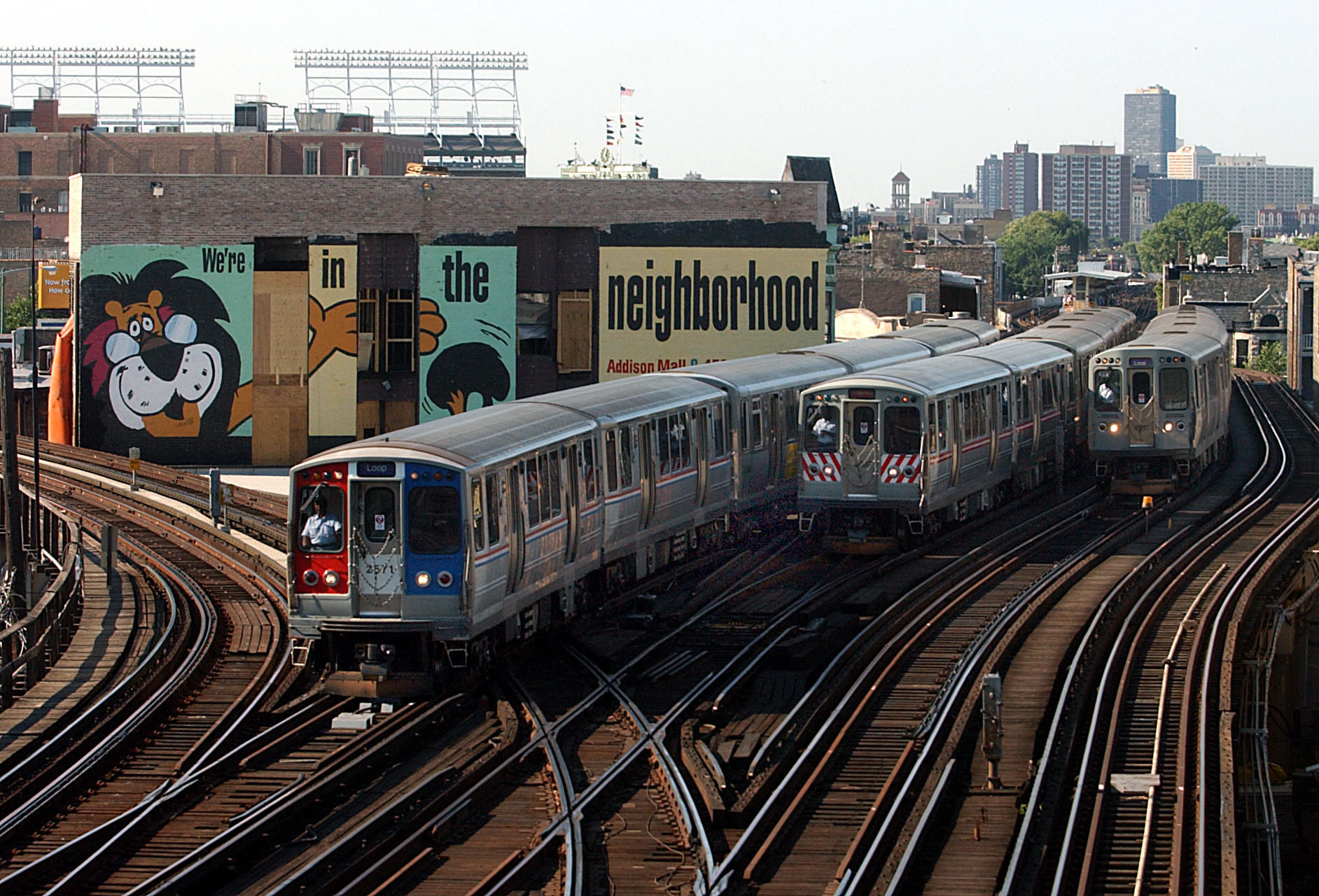 Trains travel through Clark junction in 2002, one of the CTA's busiest rail crossings.