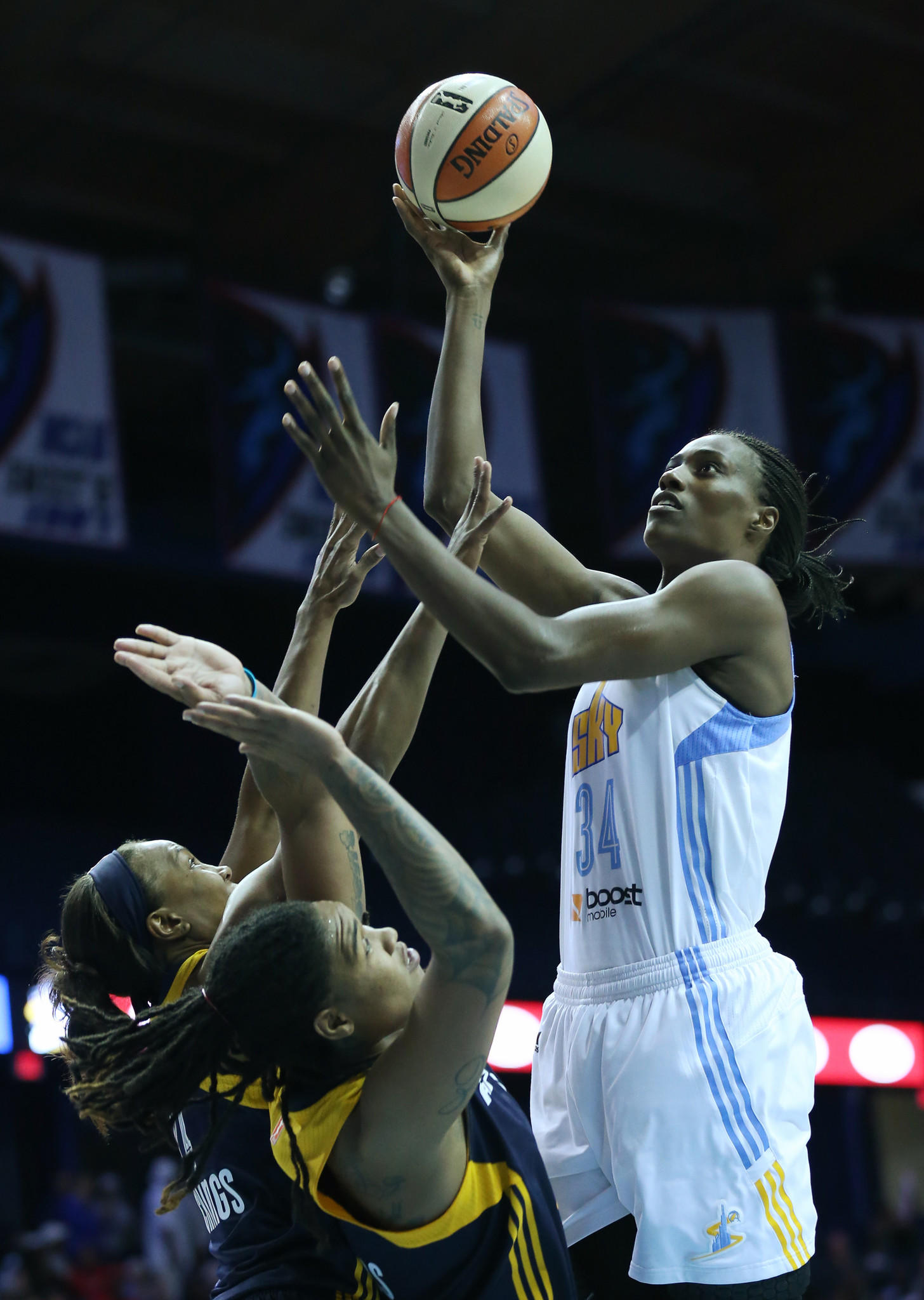 Sylvia Fowles of the Sky (34) rises to the basket against the Fever defense in the third quarter of game 1 of the WNBA playoffs first round last season.