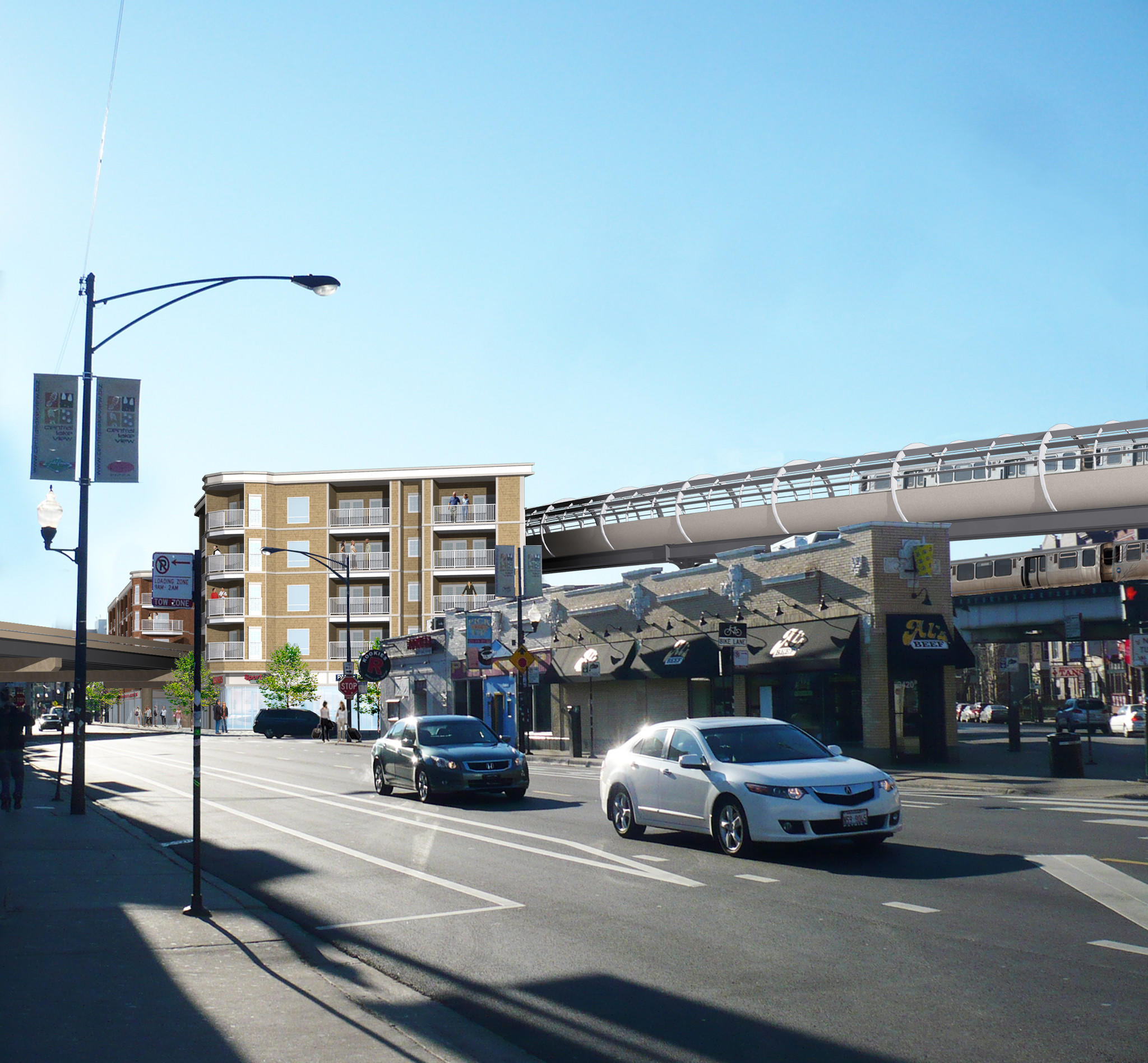 The CTA's proposed bypass north of the Belmont stop for Purple Line Express, Red Line and Brown Line trains.