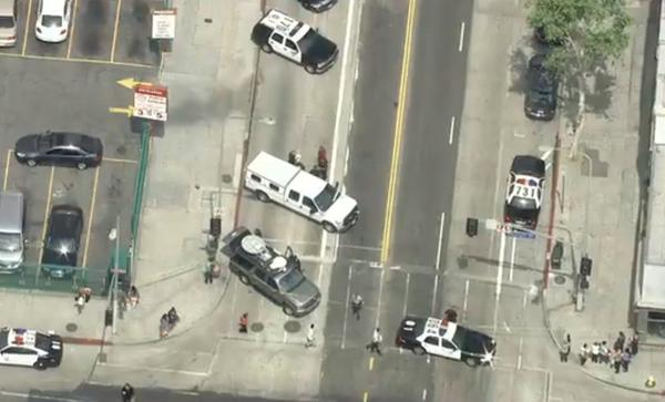 Some streets in downtown L.A. were closed after the subject of a police chase managed to evade officers.