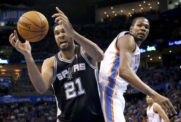 Don't be surprised if Tim Duncan (21) and the top-seeded Spurs meet Kevin Durant and the second-seeded Thunder in the Western Conference finals. Then again, don't be surprised if the Clippers, Rockets, Blazers, Warriors or Grizzlies make it there instead of the two favorites.