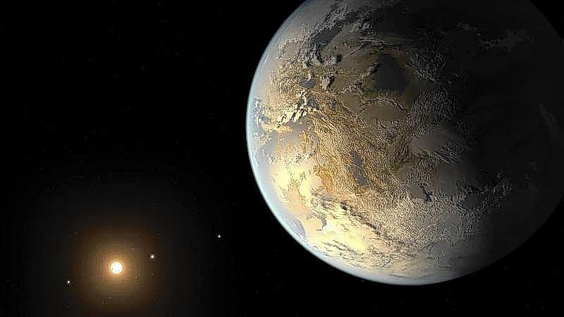 Kepler-186f, the first validated Earth-size planet to orbit a distant star in the habitable zone -- range of distance from a star where liquid water might pool on the planet's surface, is seen in a NASA artist's concept released on April 17