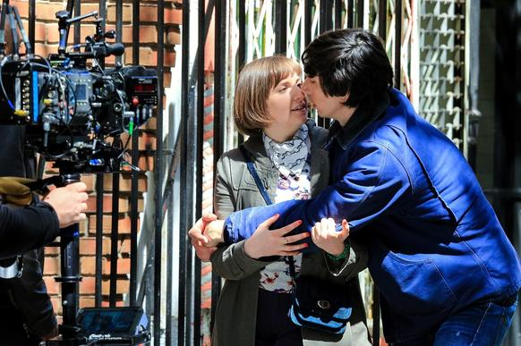 "Lena Dunham and Adam Driver film a scene for ""Girls"" on April 16, 2014, i"
