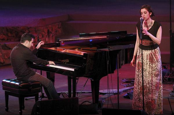 Pianist Tigran Hamasyan with vocalist Areni Agbabian onstage at the Angel City Jazz Festival in 2011.
