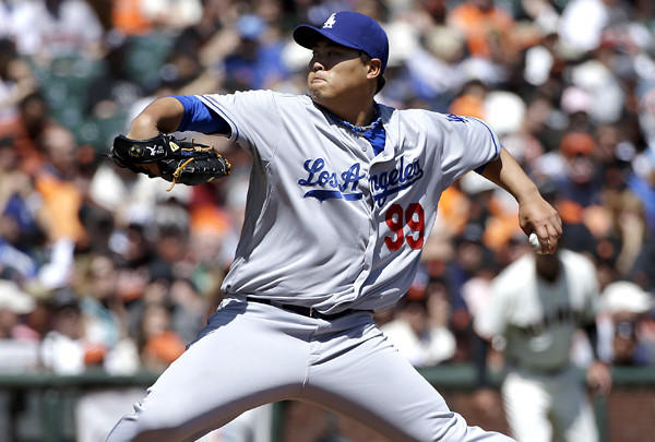 Dodgers starting pitcher Hyun-Jin Ryu gave up only four singles to the Giants in seven innings Thursday afternoon in San Francisco.