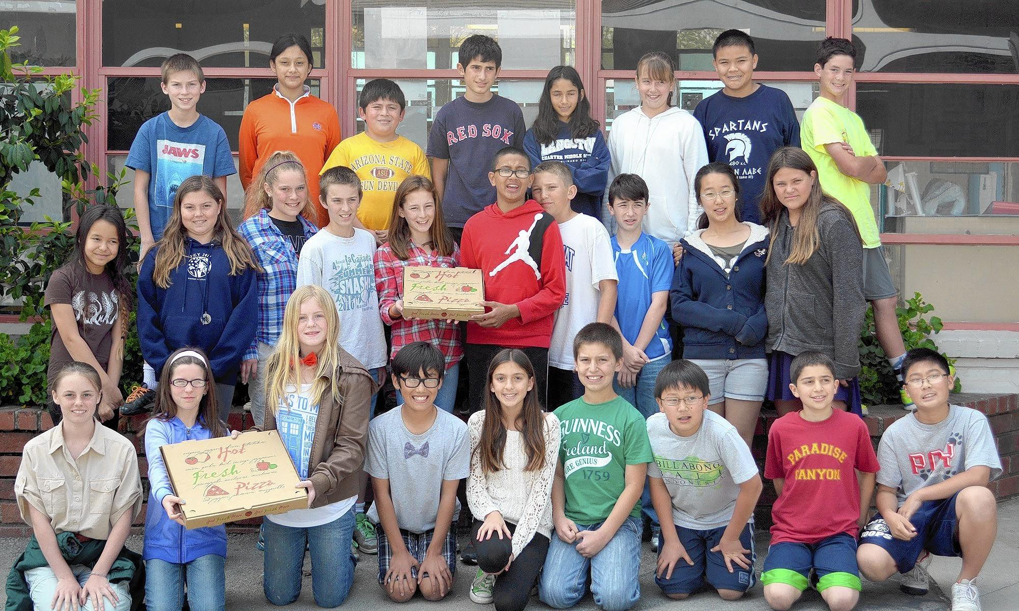 Mrs. Budde's sixth-grade class at Paradise Canyon Elementary School won the La Cañada Spring Home Tour contest by raising the most money for the Home Tour. They recently enjoyed a pizza party for their efforts. Back row, from left, Patrick Kalb, Elise Alvarez-Salazar, Luis Colon, Ryan Johnsen, Sonia Bhaskaran, Ciana Smyth, Max Fan and Liam Hartman; middle row, from left, Tigerlily Biskup, Juliette Arcaris, Katya Besch, Kirk Fungo, Caroline Dick, Andre Henry, Noah Hanes, Ben Griffith, Mindy Lee and Eve Branda; front row, from left, Sarah Aparicio, Lucia Borras, Brooke Steele, Kai Chavez, Ethan Cohen, Brandon Kim, Devin Sagarian and Cyrus Chen.