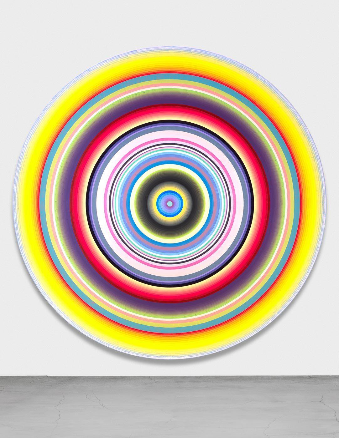 "Gary Lang, ""Clarion,"" 2009, acrylic on canvas, 13 feet in diameter."