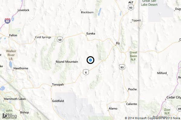 A map shows the approximate location of the epicenter of Friday morning's quake near Currant, Nev.