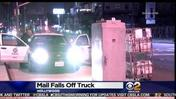 Mail Pallets Fall Off Truck In Hollywood