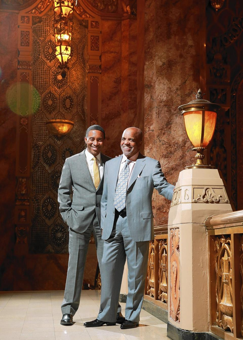 Director Charles Randolph Wright (left) and Motown founder Berry Gordy at the Oriental Theatre.