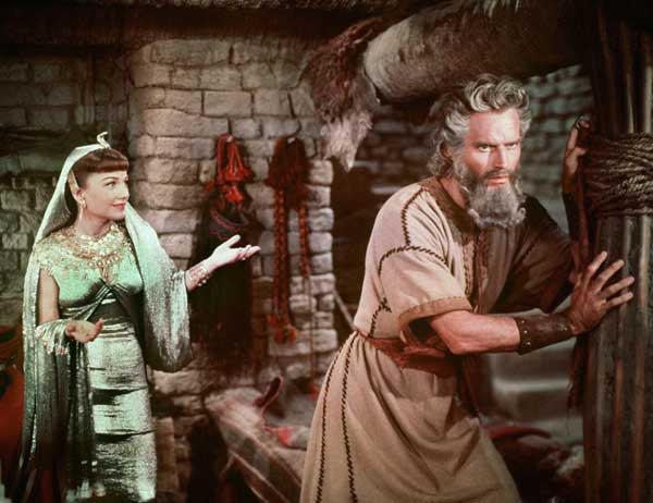 "Charlton Heston stars in the 1956 biblical epic ""The Ten Commandments"" on ABC. With Anne Baxter."