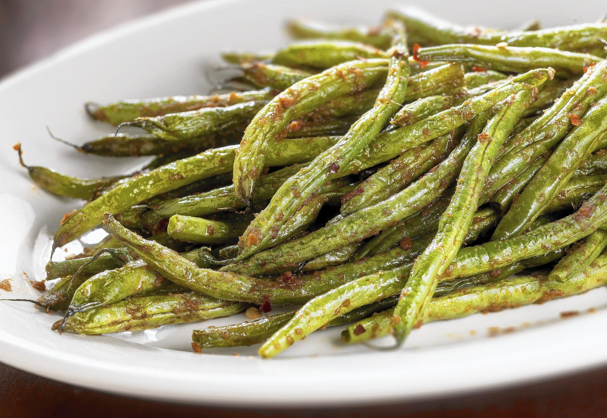 Finished wrinkled green beans recipe.