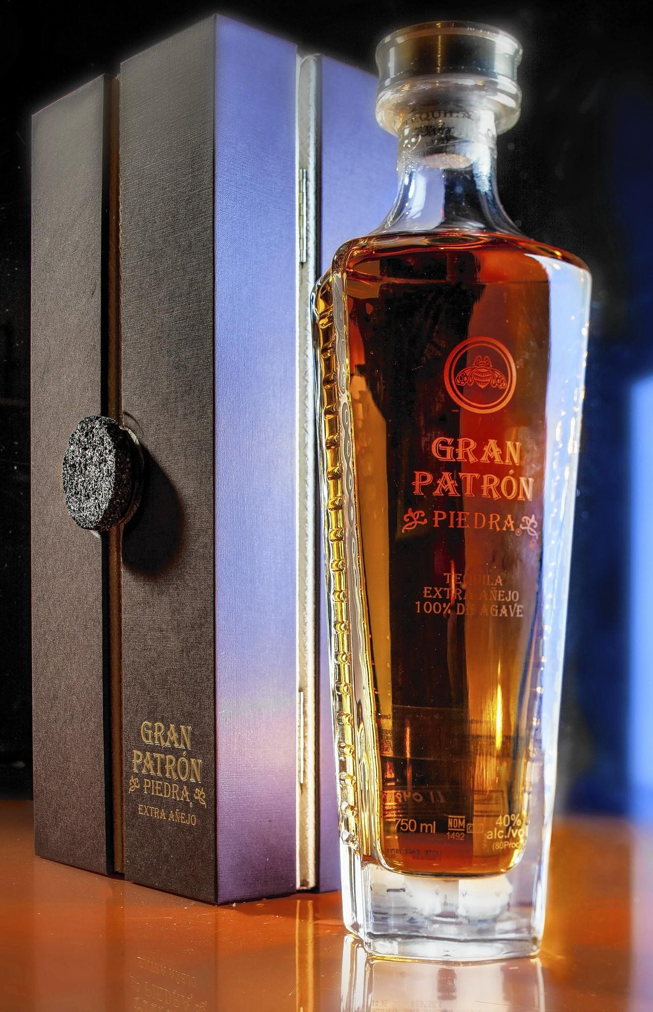 A bottle of Patron's new Extra Anejo tequila.