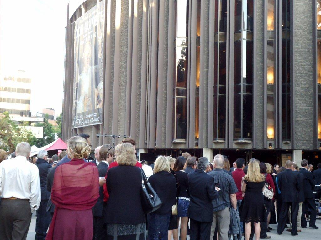 "San Diego Opera patrons gather at the Civic Theatre before a recent performance of ""Don Quixote."""