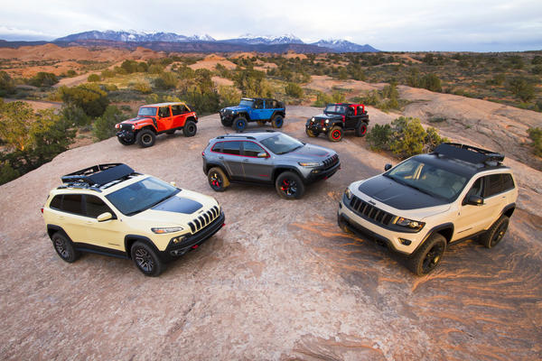 Jeep brought six prototypes to the 2014 Easter Jeep Safari in Moab. Utah. We grabbed two -- the bright blue Wrangler and the dark gray Cherokee -- to see what Jeep may have in store for future customers.