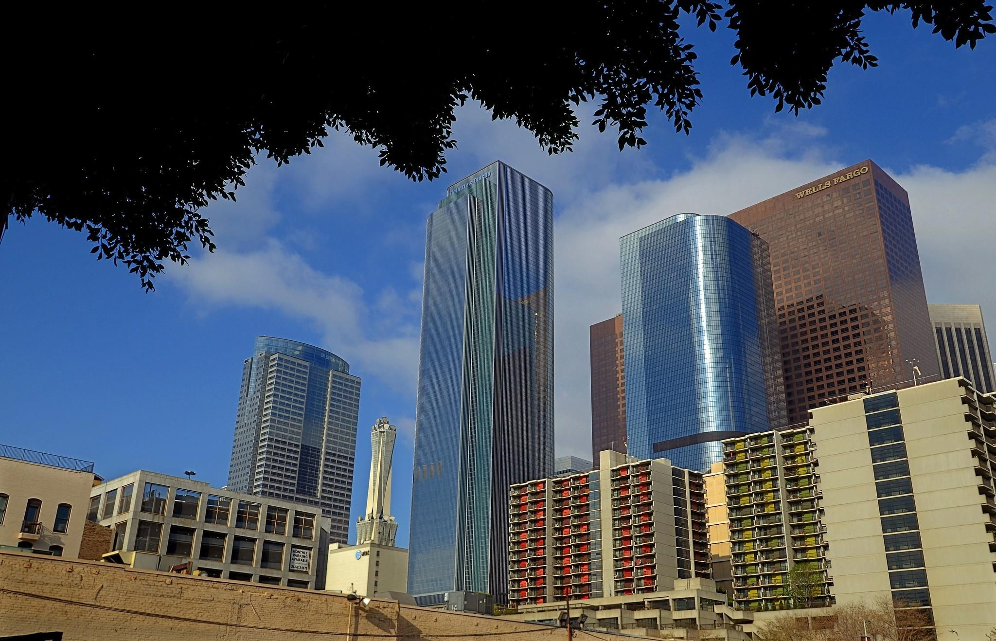Office vacancy in the Southland is reaching its lowest level since 2008. Above, high-rises in downtown Los Angeles.