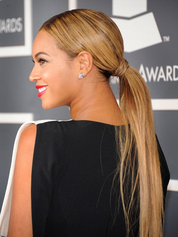 Beyonce's trend-setting style at the 2013 Grammays included a long blond, straight ponytail.