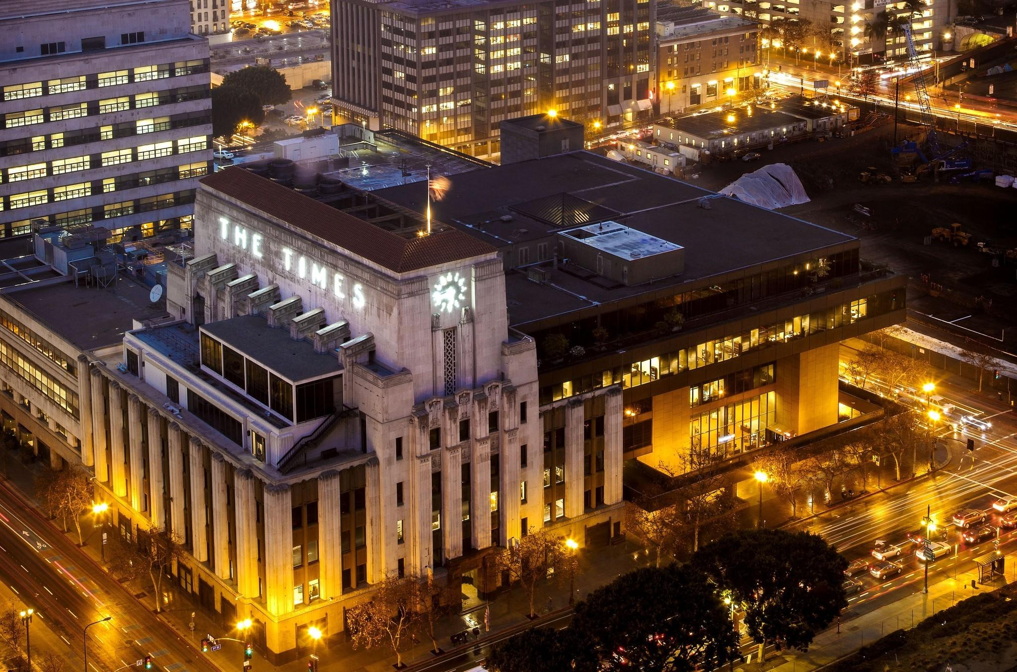 A view of the Los Angeles Times building this year from the City Hall observation deck.