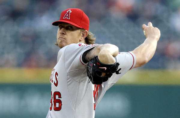 Angels starting pitcher Jered Weaver went six innings against the Tigers on Friday night in Detroit, giving up three hits, three walks and one run.