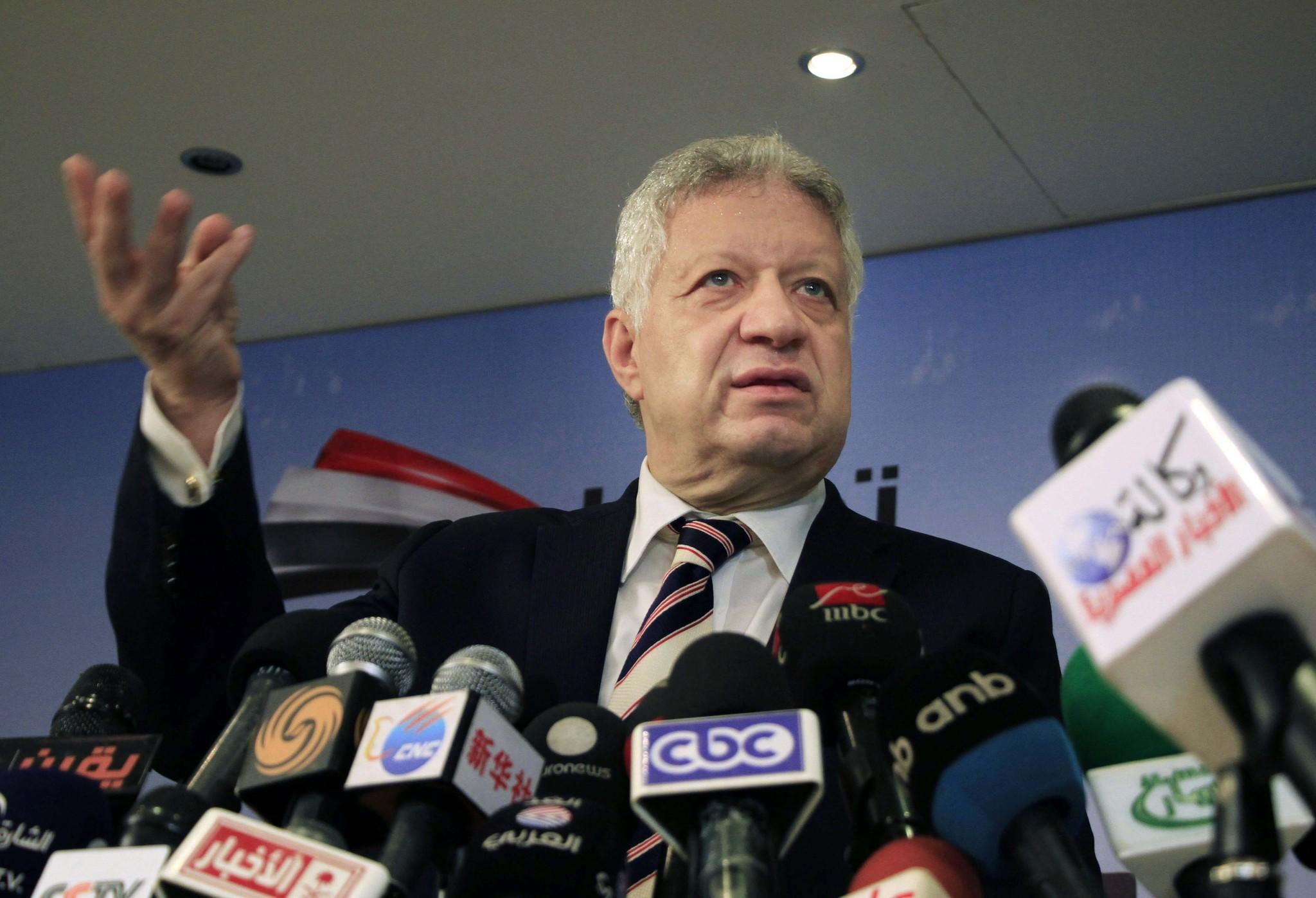 Mortada Mansour, shown at a news conference in Cairo last week, bowed out of Egypt's presidential campaign on Saturday.