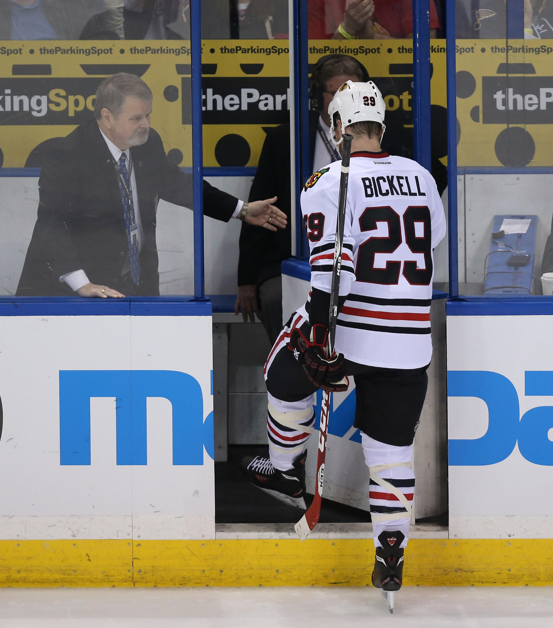 Chicago Blackhawks left wing Bryan Bickell (29) heads to the penalty box in the third period.