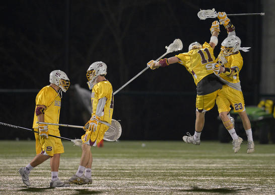 From left to right, Salisbury's Josh Martin, Dan Feeney, Knute Kraus and Chris Biank celebrate their 11-9 win over Stevenson.