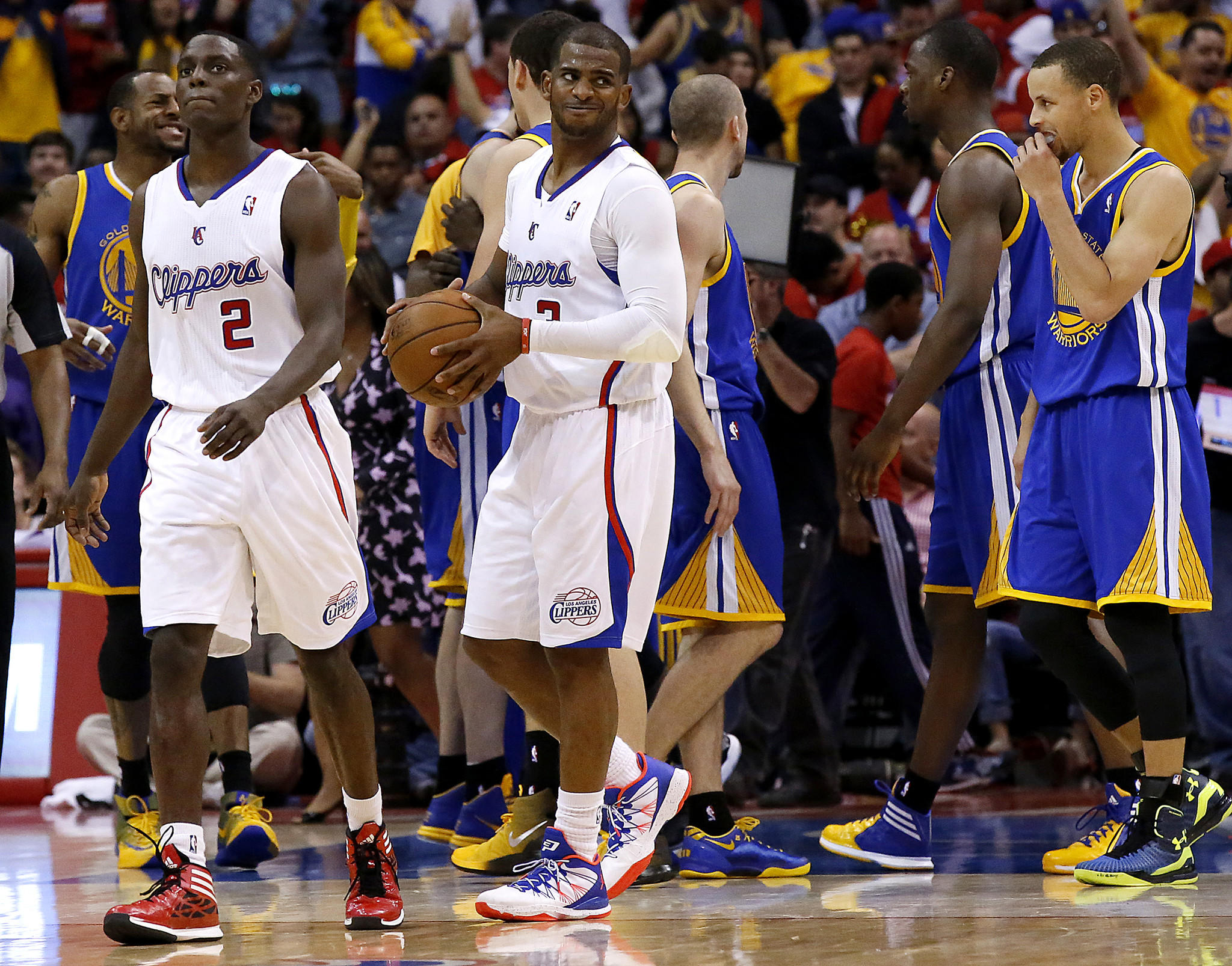 Clippers point guard Chris Paul casts a glance toward referees at the end of a 109-105 loss to the Golden State Warriors in Game 1 of their playoff series on Saturday afternoon at Staples Center.