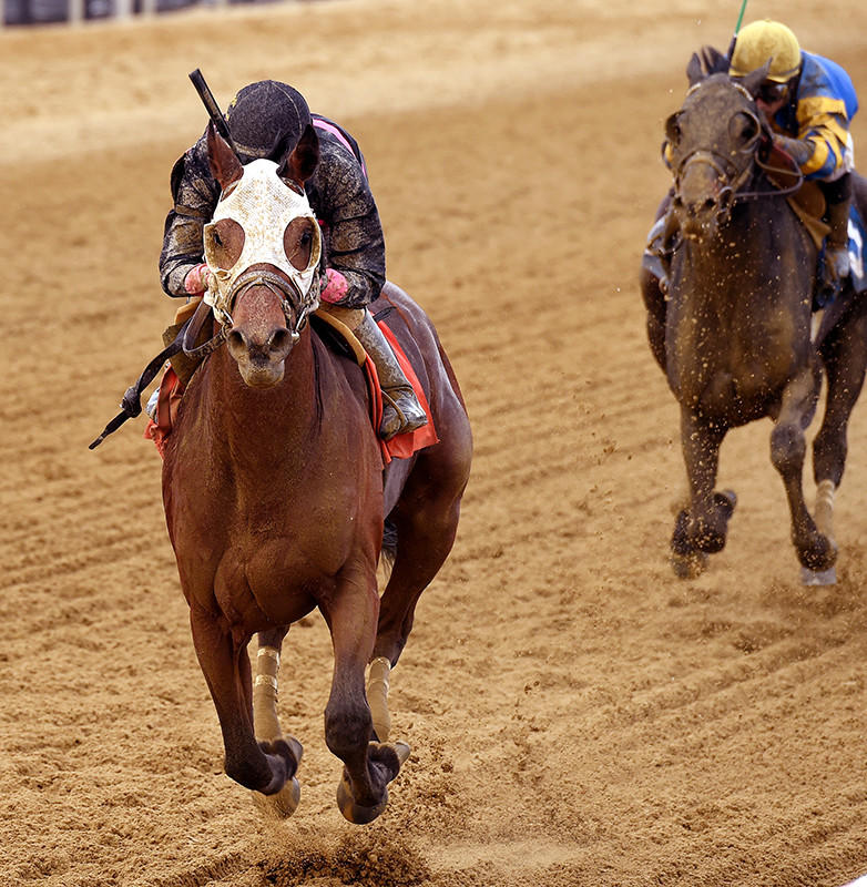 Julian Pimentel rides Kid Cruz to victory in the Federico Tesio Stakes at Pimlico Race Course on Saturday, April 19, 2014.