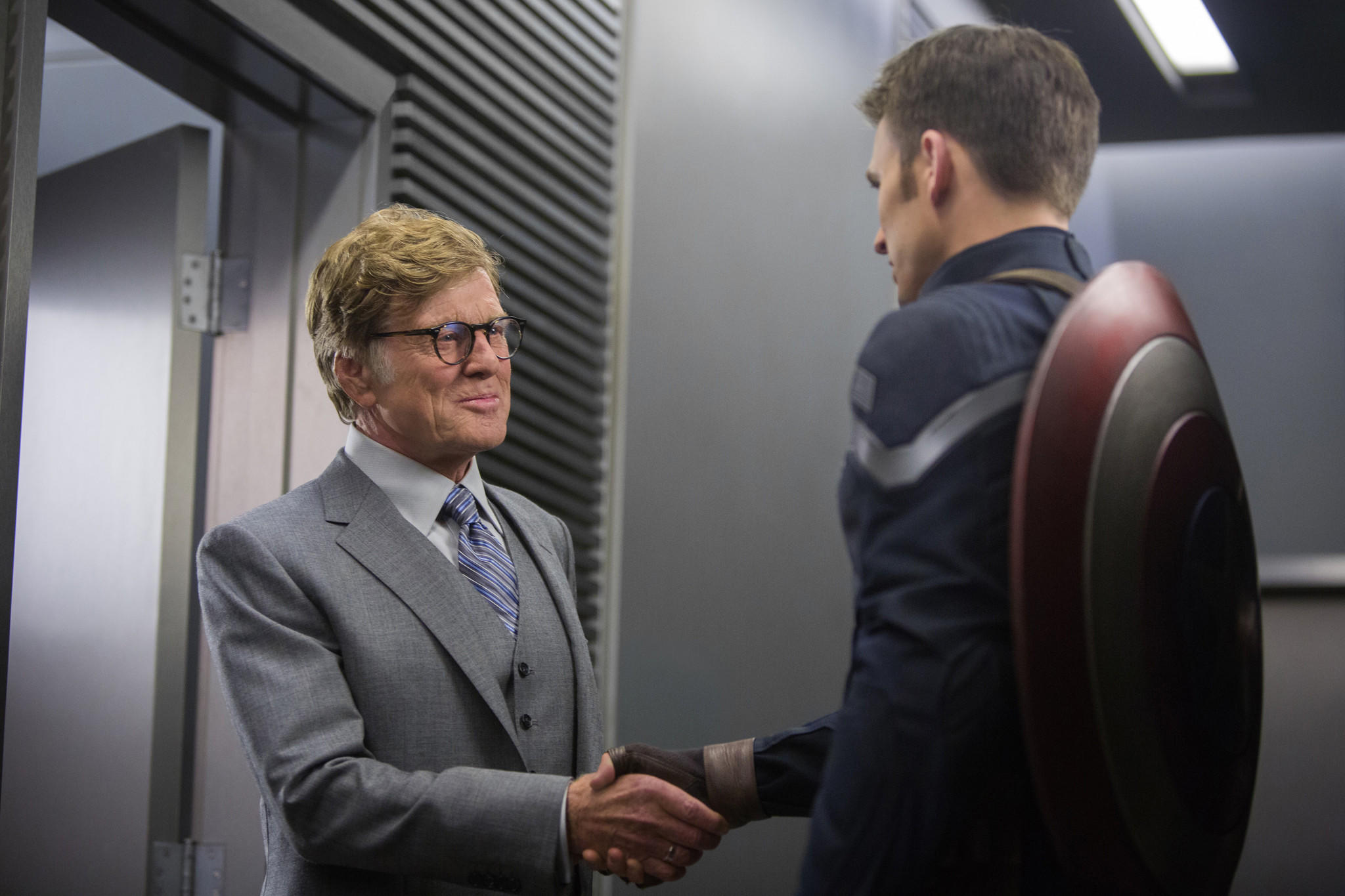 "Robert Redford, left, and Chris Evans in ""Captain America: The Winter Soldier."""