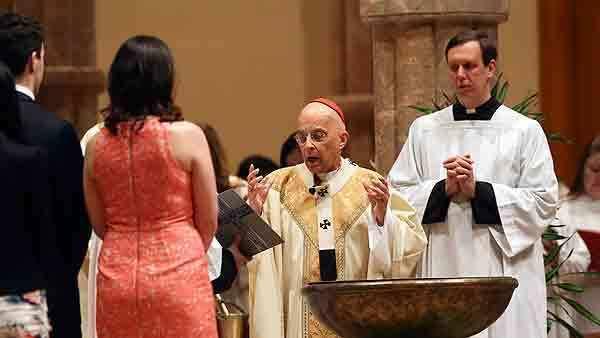 Cardinal Francis George at the Easter Vigil Liturgy Saturday at Holy Name Cathedral.
