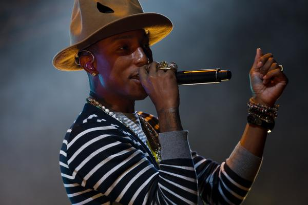 A much more comfortable Pharrell Williams performing Saturday, sans dust storm, during the second weekend of the Coachella Valley Music and Arts Festival in Indio.