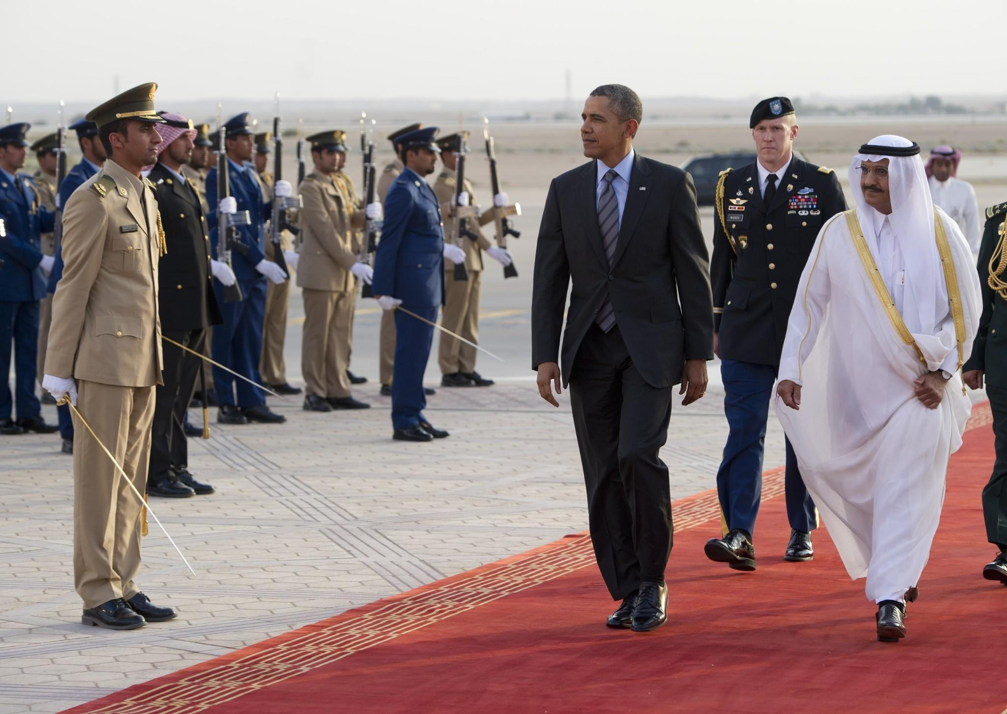 President Obama is welcomed by Prince Khaled bin Bandar bin Abdulaziz, emir of Riyadh, right, upon the president's arrival in the Saudi capital last month for a meeting with King Abdullah.