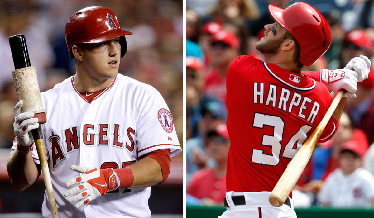 Outfielders Mike Trout of the Angels and Bryce Harper of the Nationals have both risen to stardom in the major leagues before their 21st birthdays.