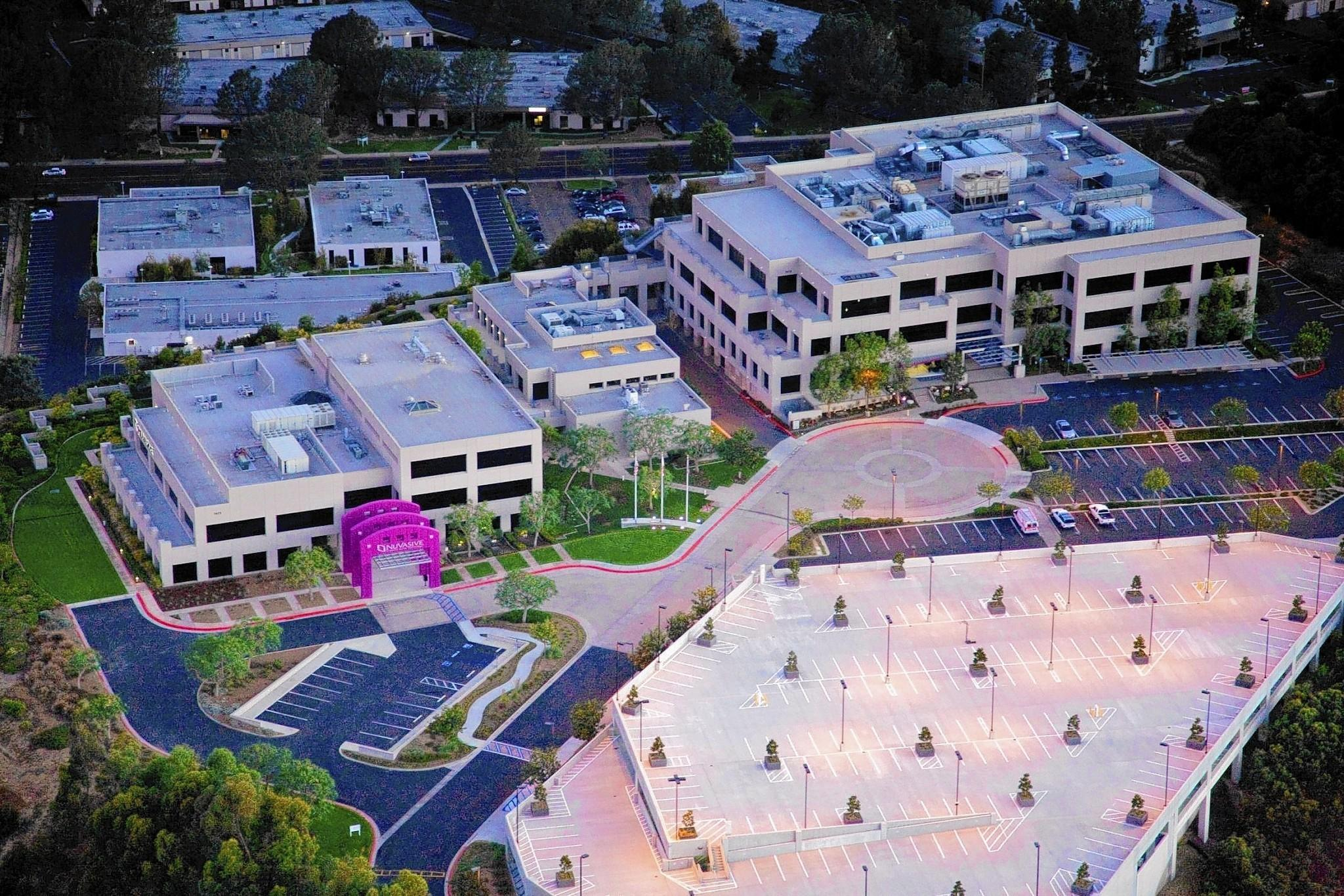NuVasive offers a lineup of 90 products and surgical solutions for patients with cervical disc degeneration, degenerative scoliosis and general back pain. Above, the company's San Diego headquarters.