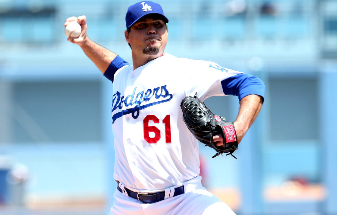 Dodgers starting pitcher Josh Beckett only made it through five innings against the Diamondbacks on Sunday, but he gave up just one hit and two walks while striking out seven.