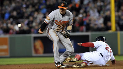 Orioles make three errors, blow five-run lead in 6-5 loss to Boston Red Sox