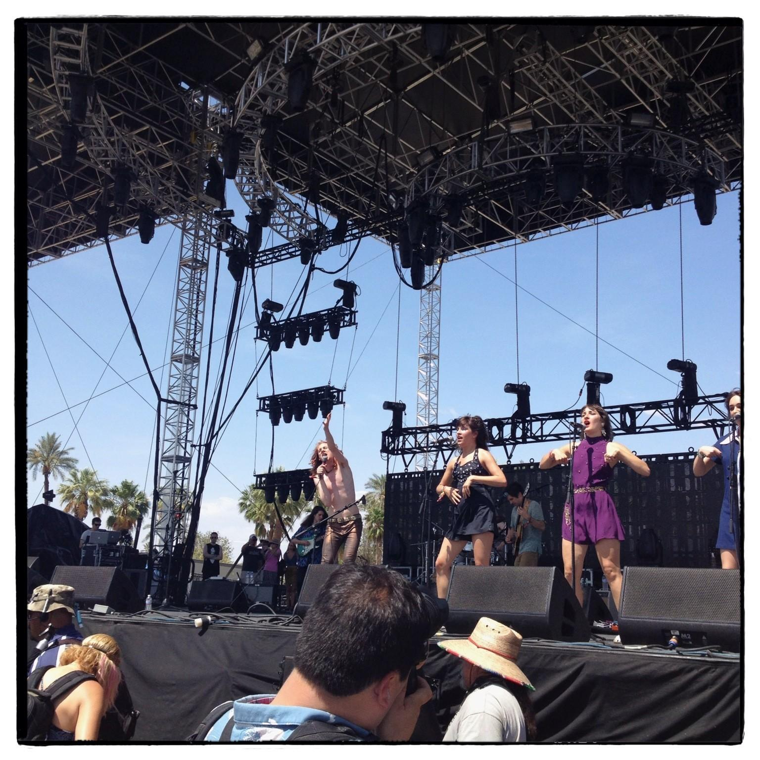 Foxygen singer Sam France grabbed your attention on the Outdoor Stage at the Coachella festival Saturday.