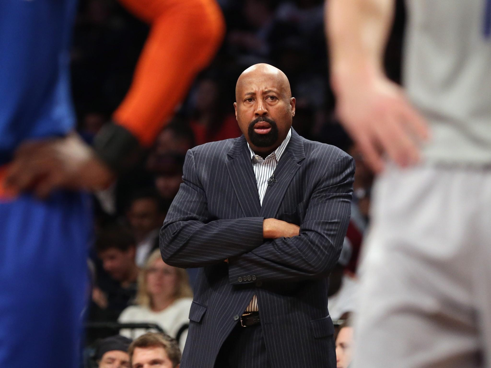 Mike Woodson of the New York Knicks handles bench duties during the game against the Brooklyn Nets at the Barclays Center on April 15.