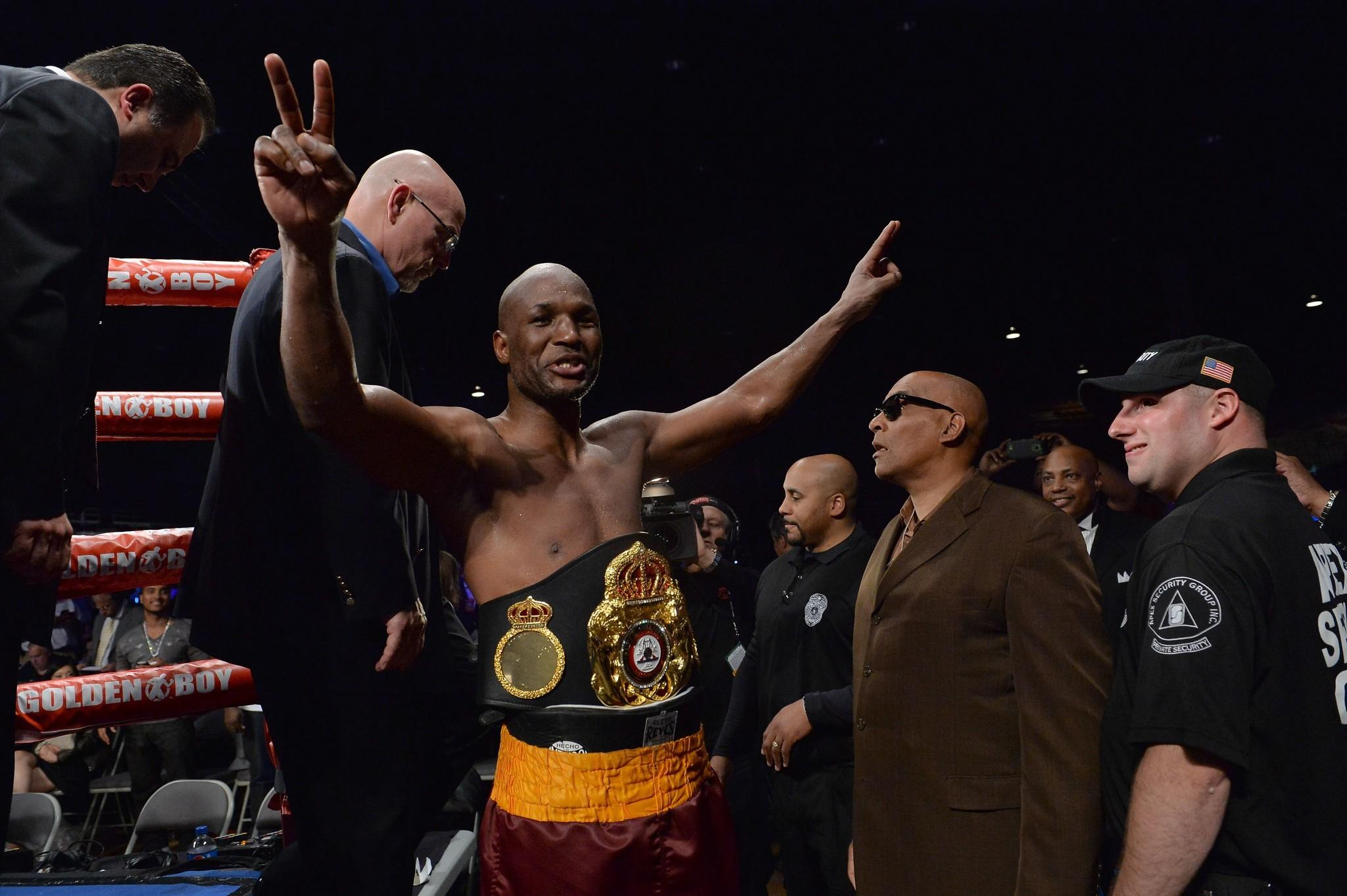Bernard Hopkins celebrates after his victory over Beibut Shumenov on Saturday for the WBA and IBA light-heavyweight titles.