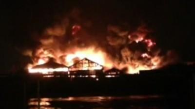 Raw: Massive Fire at UK Industrial Site