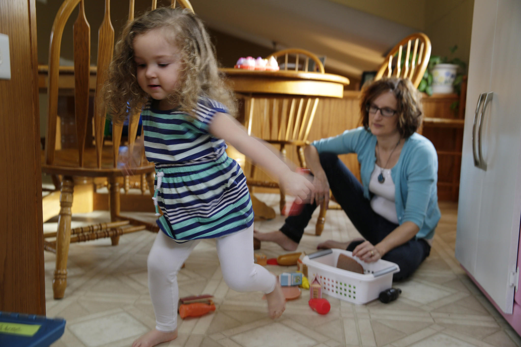 Ellen Hanrahan plays with her 2-year-old daughter, Leena Hanrahan, in their home in Prophetstown, Ill. In 2012 Hanrahan gave birth to Leena, despite undergoing a permanent sterilization procedure called Essure two years earlier.