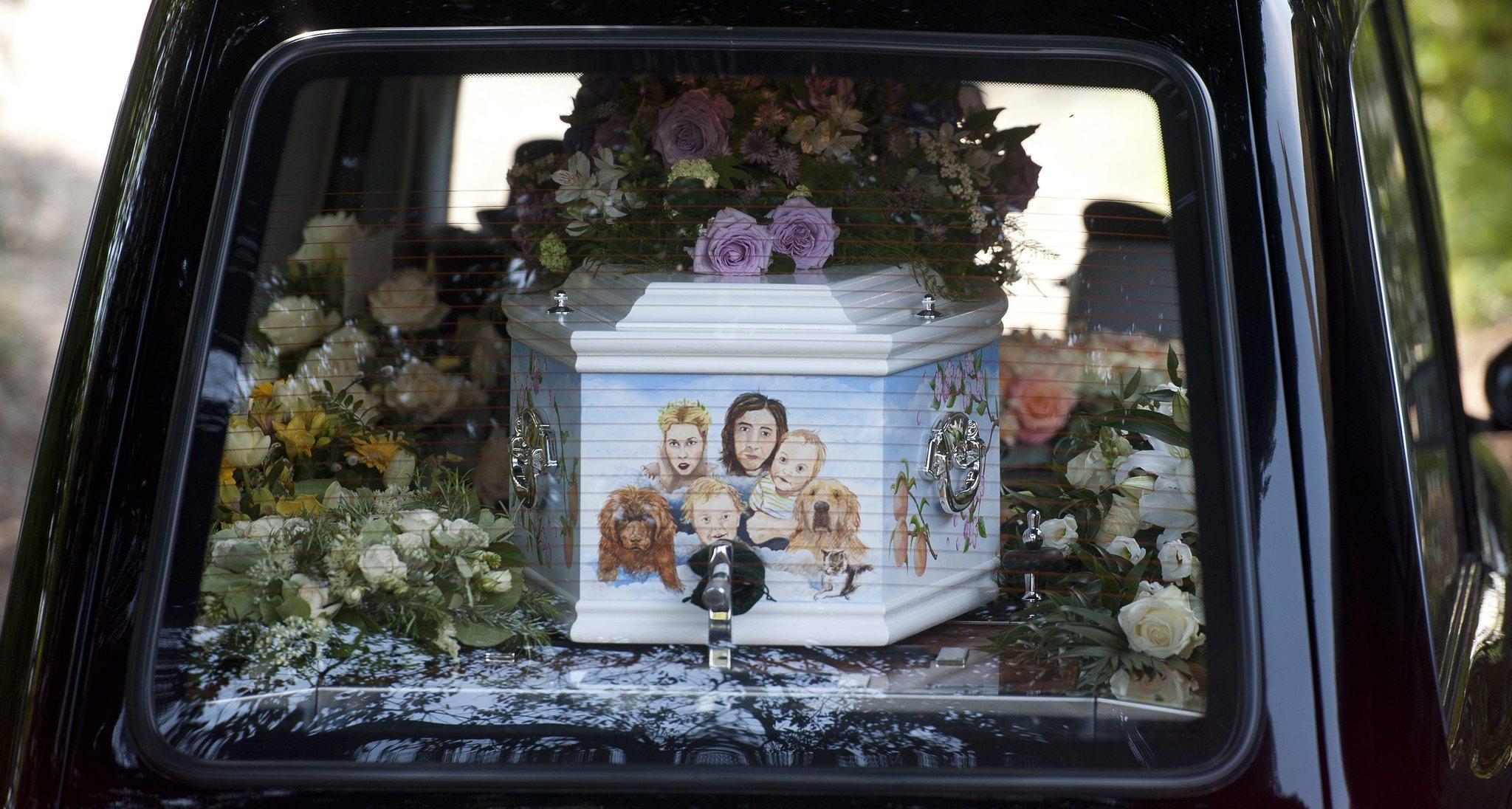 A casket carrying the body of British celebrity Peaches Geldof arrives at the Church of St. Mary Magdalene and St. Lawrence in Faversham in southern England.