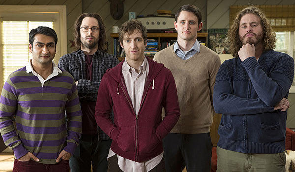 "From left are ""Silicon Valley"" cast members Kumail Nanjiani, Martin Starr, Thomas Middleditch, Zach Woods and T.J. Miller."