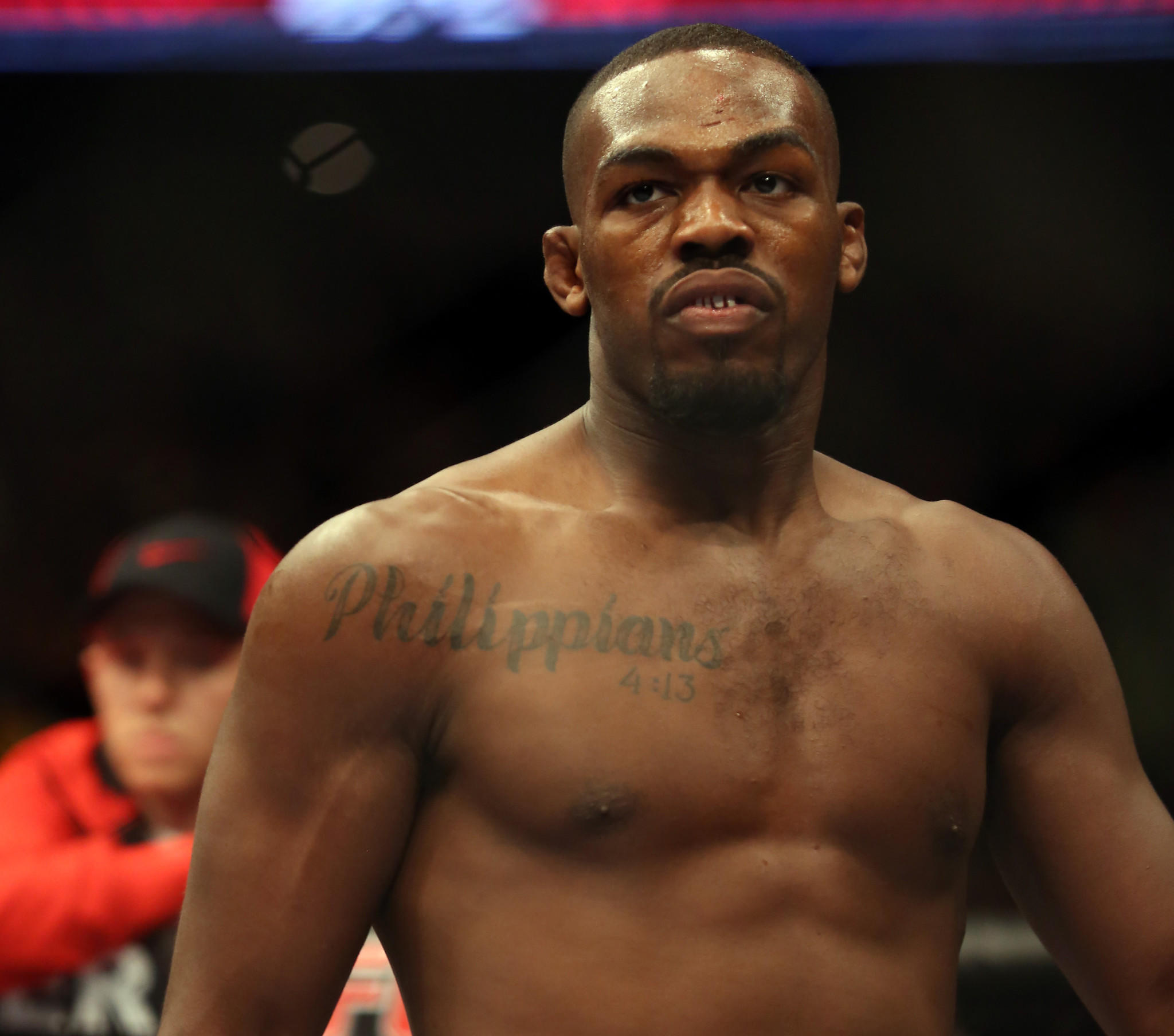 Jon Jones is seen in the ring before his UFC bout in April 2013. Jones is hoping to quiet his critics with a strong performance Saturday against Glover Teixeira.