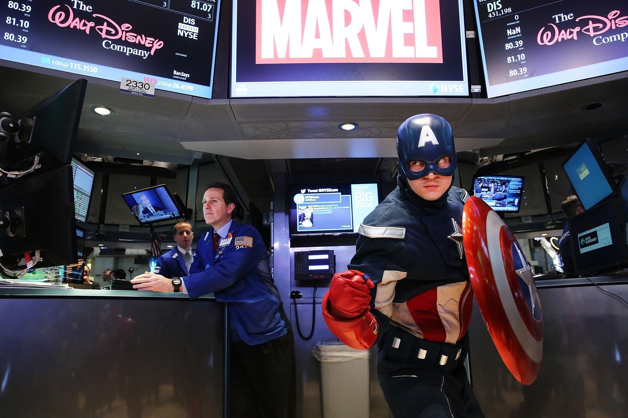 A person dressed as Captain America poses on the floor of the New York Stock Exchange this month. Walt Disney Co. acquired Marvel for $4 billion in 2009.