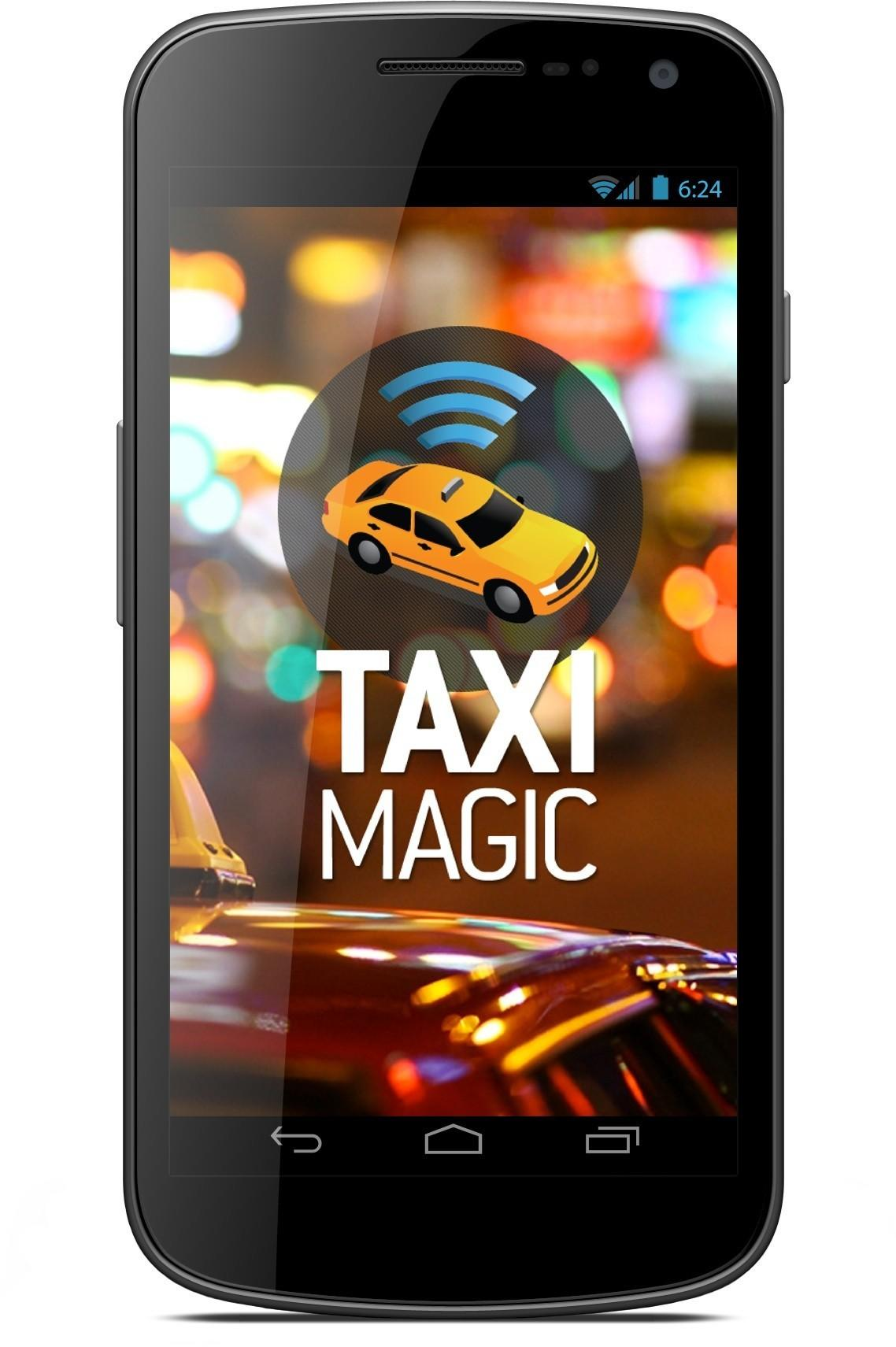 The Taxi Magic app on an Android phone. Customer who use the app this week can get a free $15 cab ride.