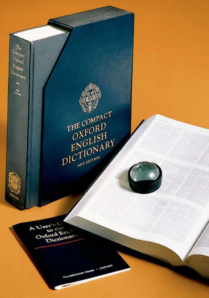 This is the compact version of the authoritative Oxford English Dictionary, with accompanying magnifier to read the tiny, tiny type. The upcoming full-sized edition may be the last OED on paper.
