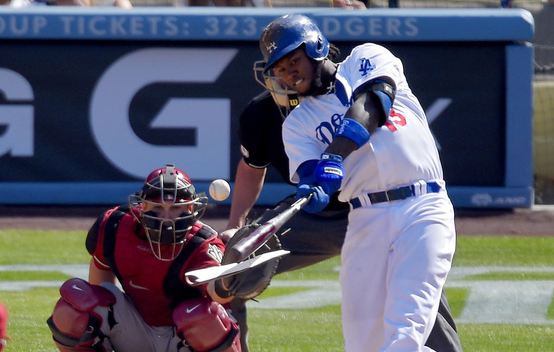 Dodgers shortstop Hanley Ramirez's bat breaks as he lines out during a game against the Arizona Diamondbacks on Sunday at Dodger Stadium.