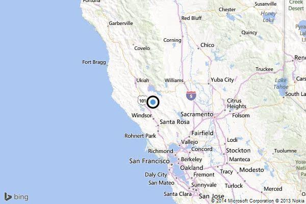 A map shows the approximate location of the epicenter of Tuesday morning's quake near Cobb, Calif.